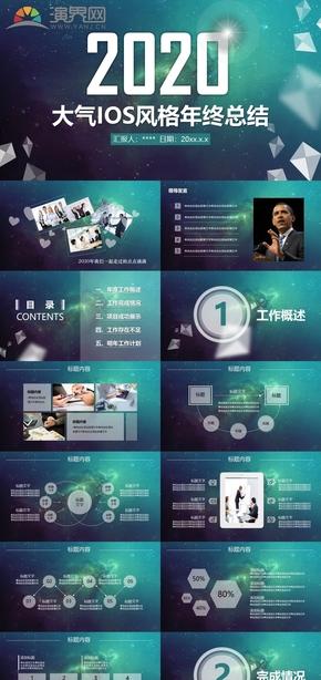 藍色大氣ios風格年終總結工作匯報新年計劃PPT模板