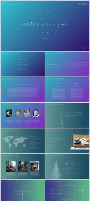 漸變色IOS蘋果風格商務項目匯報平滑動態模板