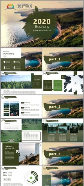 綠色氧氣歐美風工作匯報計劃總結ppt