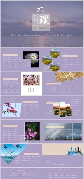 旅游行業紫(zi)色雲南大理PPT模板