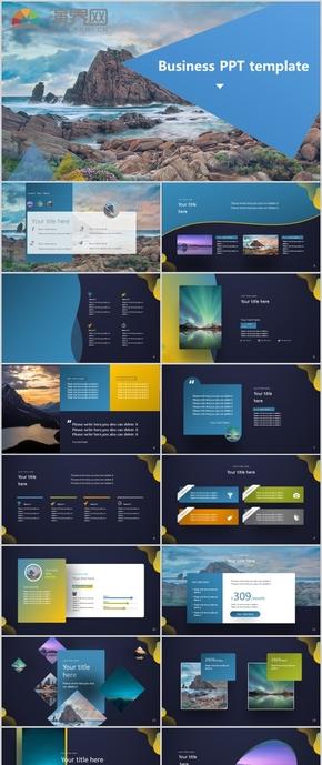 2020年 蓝黑色 创意动画 商务风格 高端大气PPT模板