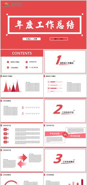 紅色動態(tai)年度工作總結簡約模板