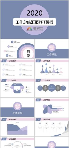 藍粉高(gao)級配色扁平風(feng)工(gong)作匯報PPT模板