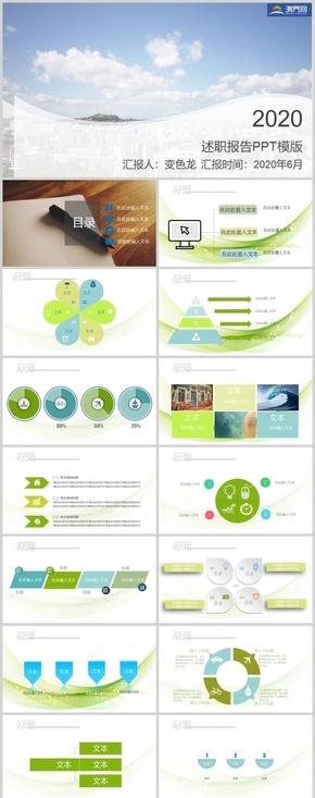 2020簡(jian)約小清新綠(lv)色述職報告工作總結