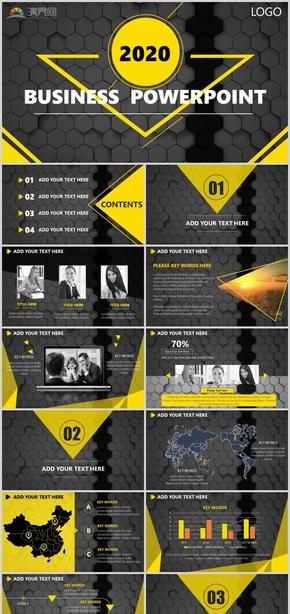 黃黑動態商務風工作匯報計劃總結通用ppt模板