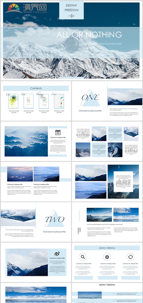 2020年藍色歐美雜志風旅游海報商業ppt模板