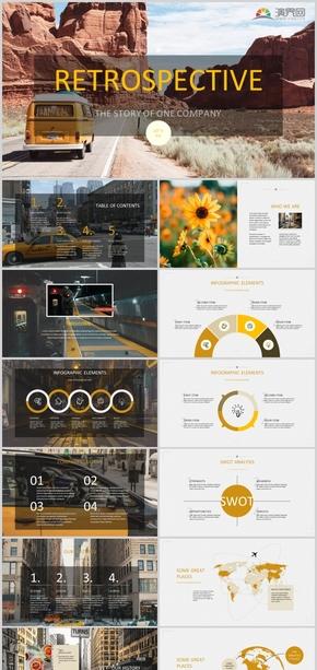 2020年黄色欧美杂志风商业企划风景ppt