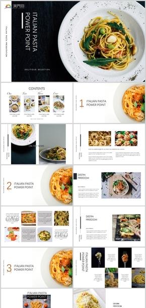 2020年食品餐飲企業意面面條美食雜志簡約風ppt模板