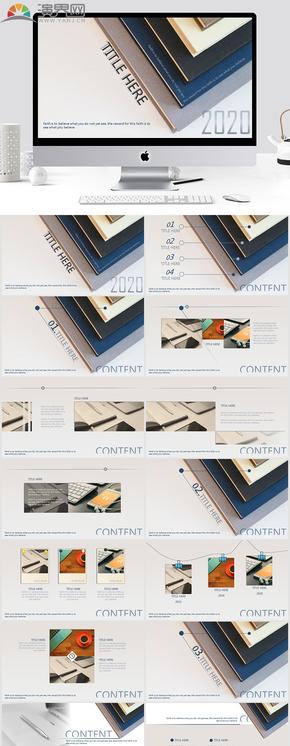 2020高級藍灰雜志風極簡商業匯報ppt模板