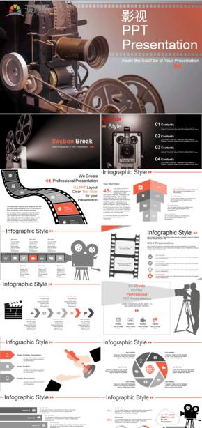 廣告攝影電影電視廣告設計攝像PPT模板