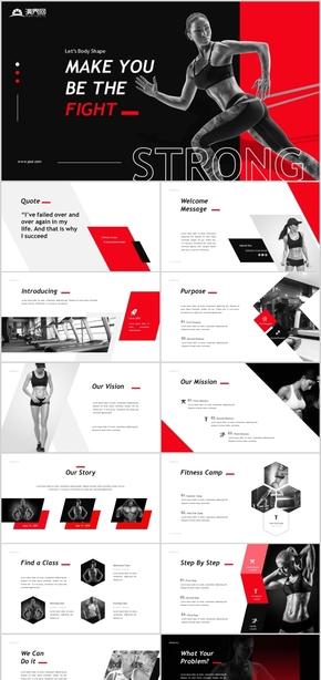 黑色大气健身运动健身俱乐部健身房运动健身健美健身减肥锻炼健身锻炼健身运动时尚俱乐部健身房PPT模板