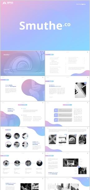 ?清新粉藍風格企業電商美容廣告創業計劃書招商引資產品運營融資PPT模板