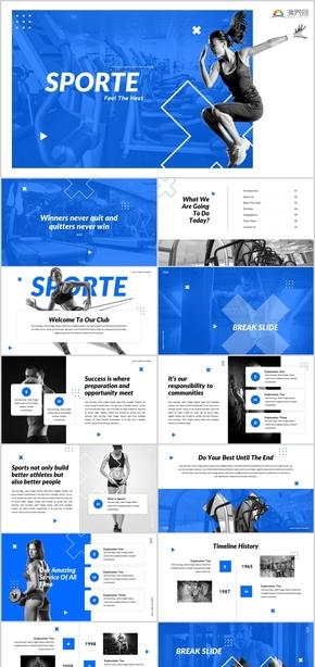 欧美大气健身运动跑步健身房宣传哑铃运动员健身减肥锻炼健身锻炼跑步健身运动运动健康健身房PPT模板