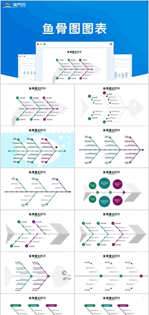魚骨圖關系圖表PPT模板