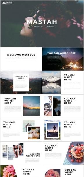 高端简洁欧美杂志摄影艺术画册影视电影杂志风旅游酒店高端简洁PPT模板