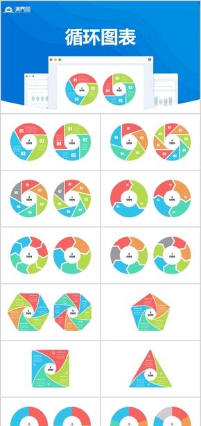 PPT立體循環箭頭環形箭頭循環流程圖表