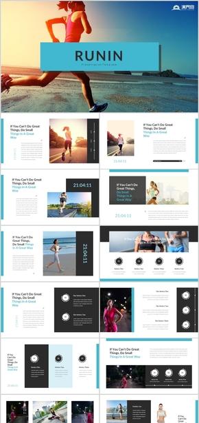 創意健身運動跑步健身房宣傳健身教練有氧運動減重訓練瘦身運動健美減肥鍛煉跑步運動健康體育跑步PPT模板
