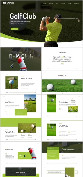休闲娱乐高尔夫运动动态高尔夫体育休闲运动竞技高尔夫背景图片下载体育竞技休闲活动贵族运动高档PPT模板