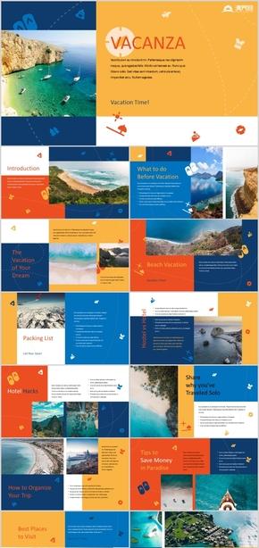 时尚拼接浪漫夏威夷海边风情旅游画册唯美旅行相册浪漫海边度假出国旅游PPT模板
