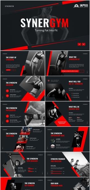 欧美黑红大气时尚创意健身房运动跑步宣传健身ppt极限运动创意欧美体育健身运动健身教练PPT模板