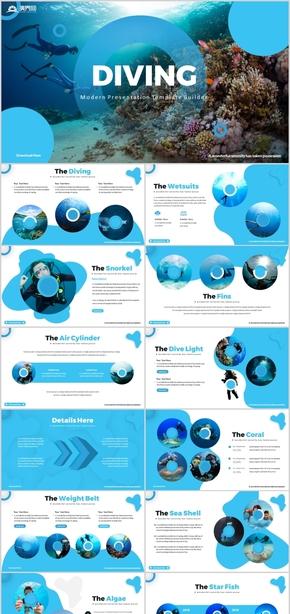 蓝色海洋海底潜水年终总结动态潜水PPT海底世界海水馆海族馆海洋探探险大海海水海面深海海底PPT模板