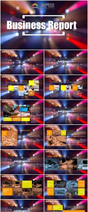 藍紫色霓虹燈虛化背景商務匯報PPT模版
