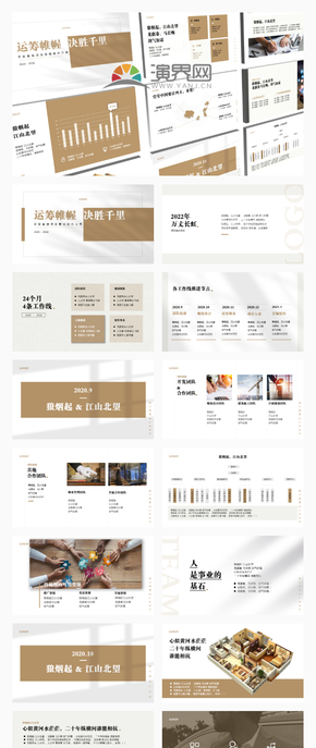 黃白極簡歐美風商務營銷報告模板