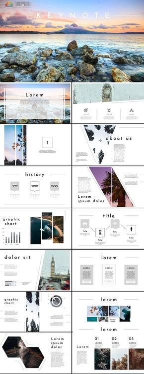 白色幾何圖形工作總結KEYNOTE模版