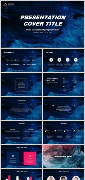 黑知视觉高端设计欧美风创意商务报告蓝色实用工作汇报炫酷深色背景商业汇报高质PPPT简单动画通用模板