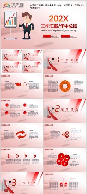 簡約漸變商務風扁平化紅色工作匯報總結ppt模板