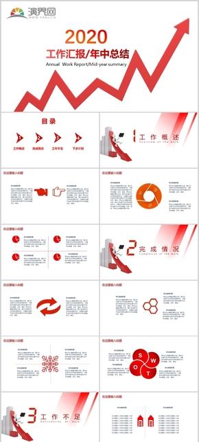 简约红色商务风扁平化年度工作报告PPT模板
