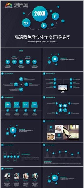 商务蓝黑色工作总结汇报动态模板