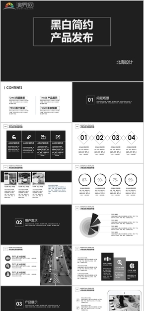 黑白簡約產品發布PPT模板