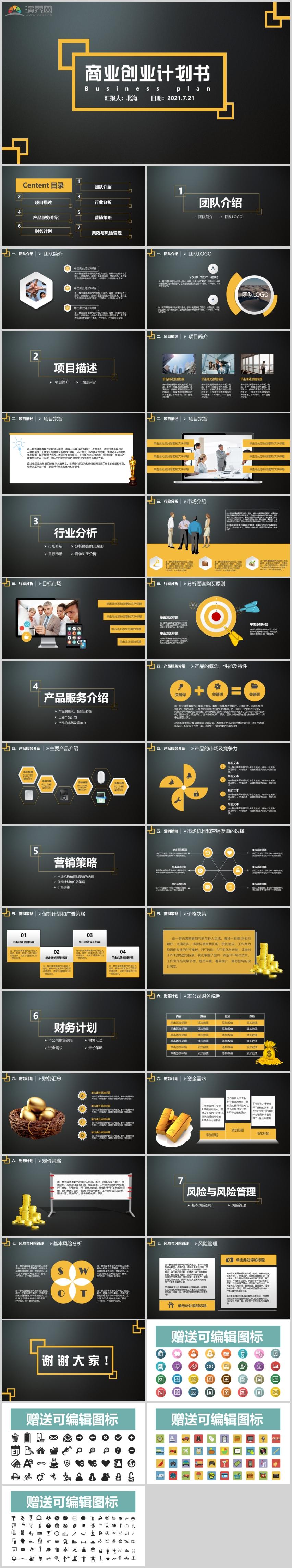 2021黑色高端商务风商业创业计划书通用模板