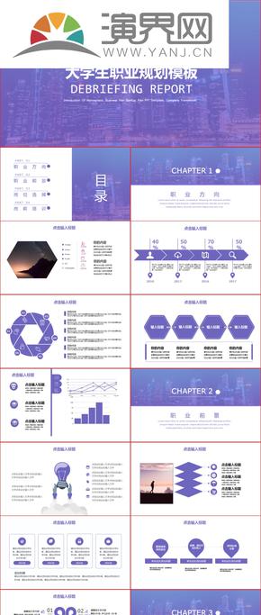 紫色扁平职业规划汇报PPT模板