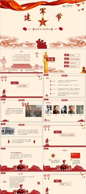 红色中国建军节党政风PPT模板