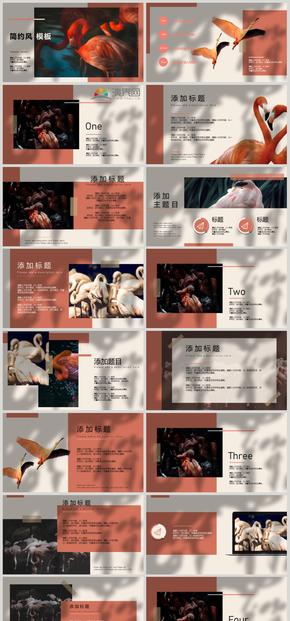 杂志风,粉橙色,摄影,大气,创意,节日宣传PPT模板