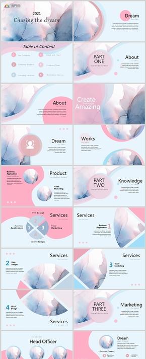 簡約風粉色大理石清新計劃總結商務通用模板