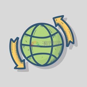 旋转的绿球图标矢量素材