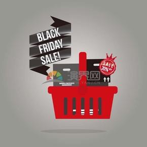 商业促销黑色星期五图标购物篮矢量图素材