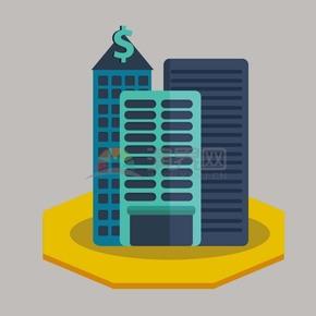 金融银行建筑矢量图标