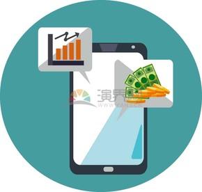 卡通商务金融经济手机数据表金币纸币