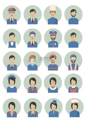 清新简约各行业人物典型特征卡通图标合集