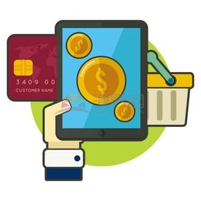 手机ipad银行卡金币购物车矢量图标