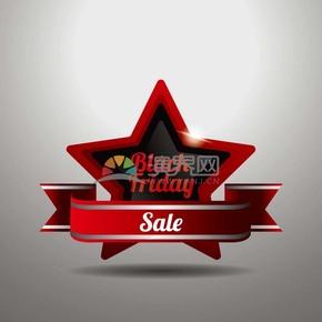 商业促销黑色星期五五角星立体图标矢量图素材