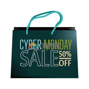 商业促销网购星期一购物袋图标矢量素材
