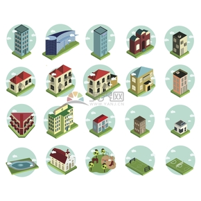 绿色创意简约高楼大厦建筑物卡通图标合集