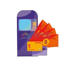 取款机银行卡购物券矢量图