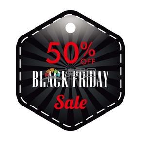 商业促销黑色星期五黑色多边形五折标签图标矢量图素材