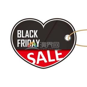 商業促銷黑色星期五愛心吊牌圖標矢量圖素材